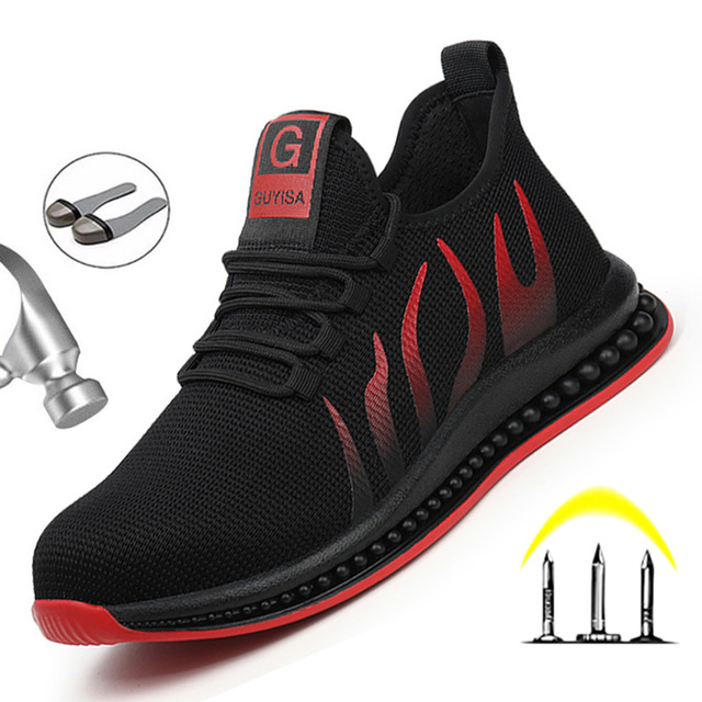 Work Safety Boots Mens Sneakers Breathable Safety Shoes Work Boots Men Puncture-Proof Indestructible Shoes With Steel Toe Shoes 3