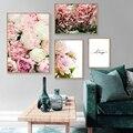 Скандинавский постер на холсте с изображением цветов, Розовый пион, цветочный принт, картина в скандинавском стиле, Настенная картина, Совр...