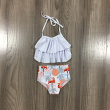 Children Swimsuit Flamingo Coral Girlymax Baby-Girls 2piece Boutique Summer Grey High-Waisted