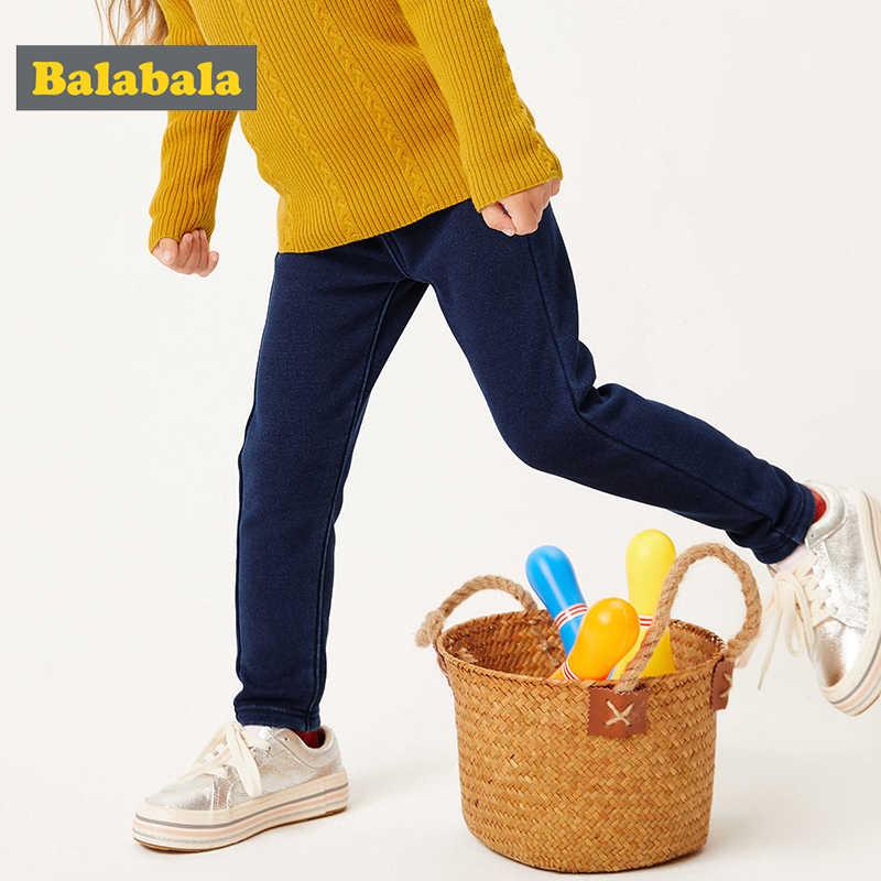 Balabala çocuk giyim kız kot artı kadife çocuk bebek pantolon sonbahar ve kış 2019 yeni çocuk ayak kız