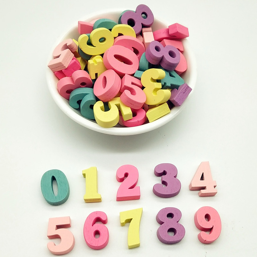 100Pcs Word Alphabet Decoration Multi-coloured Handmade Gift Home Craft Block Mixed Numbers 15mm Wooden Letters DIY Party