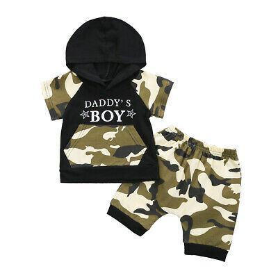 Citgeett Summer Camo Baby Kids Boy Camouflage Hoodie Tops+Shorts Gentle Clothes Outfit Set Clothing 1