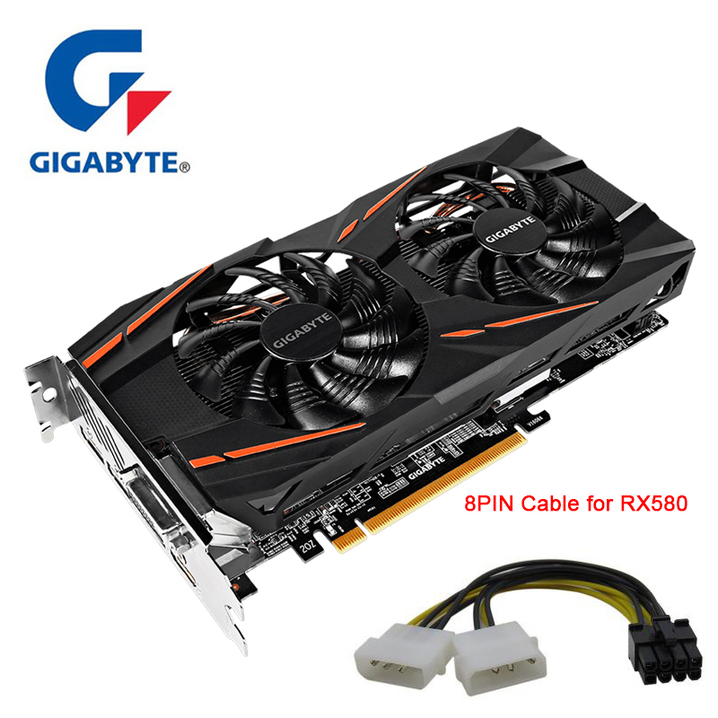 GIGABYTE Graphics-Cards GDDR5 RX580 Used-For 128bit 8GB AMD PC DVI HDMI Display-Port