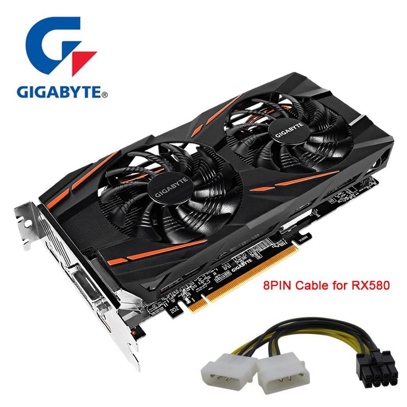 Cartes graphiques GIGABYTE RX580 8GB 128Bit GDDR5 Port d'affichage de carte vidéo cartes HDMI DVI VGA RX580 utilisées pour PC AMD