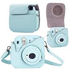 Correia da câmera de couro saco caso capa bolsa protetor alça de ombro para câmera foto polaroid para fuji fujifilm instax mini8 8 + 9