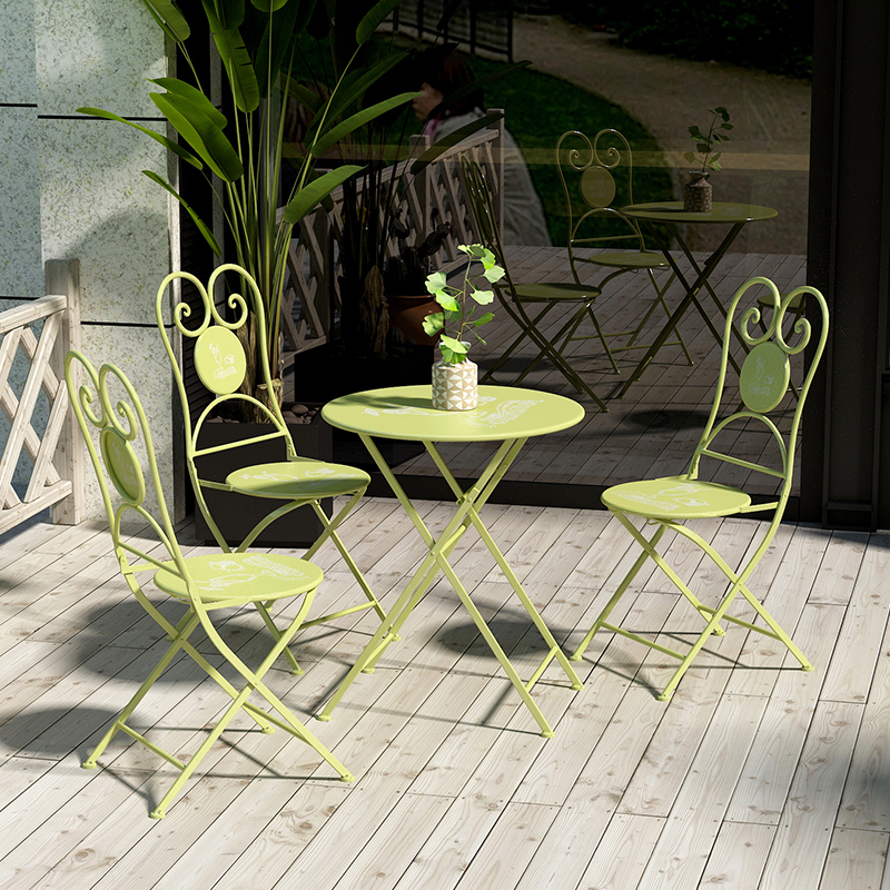 Handmade iron Nordic Outdoor foldable table and chair folding mobile round simple household portable dormitory table small dinin