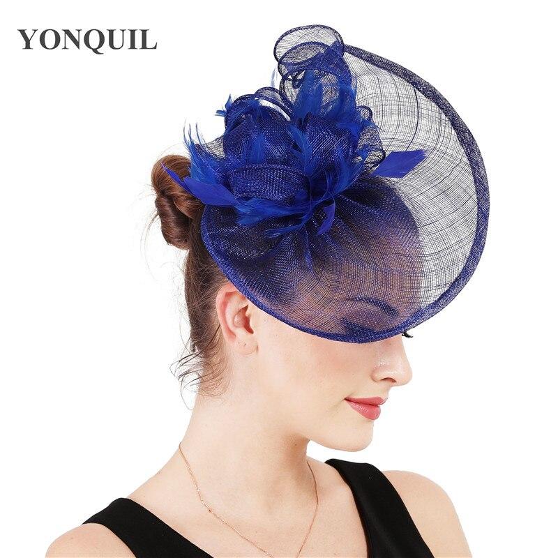 Beautiful Royal Blue  feather /& flower design facinator wedding//