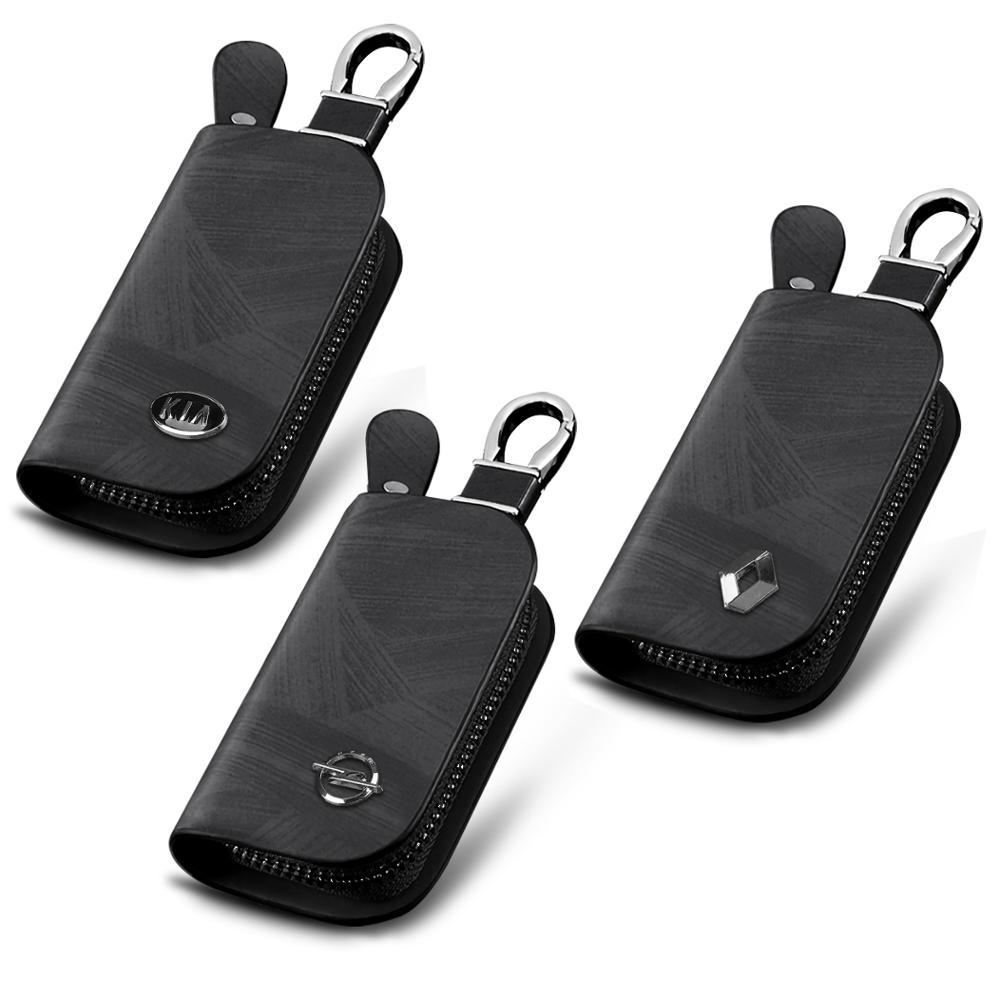 Car Brand Genuine cow leather Wood grain fashion car key holder case wallet zipper bag For OPEL KIA Renault Unisex Accessories