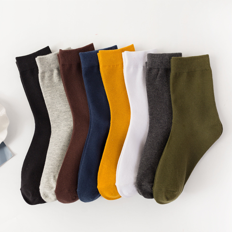 Men's Cotton Socks New Styles Harajuku Male Casual Solid Color Breathable Sock Autumn Winter Man Warm Socks Unisex Sox