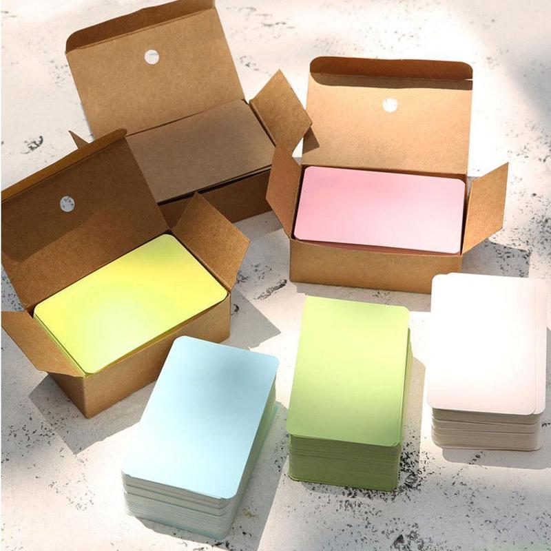 100pcs/lot Cowhide Small Card Postcard Creative Mini Kawaii Memo Pads Kraft Paper Writing Paper Envelope Paper Office Supplies