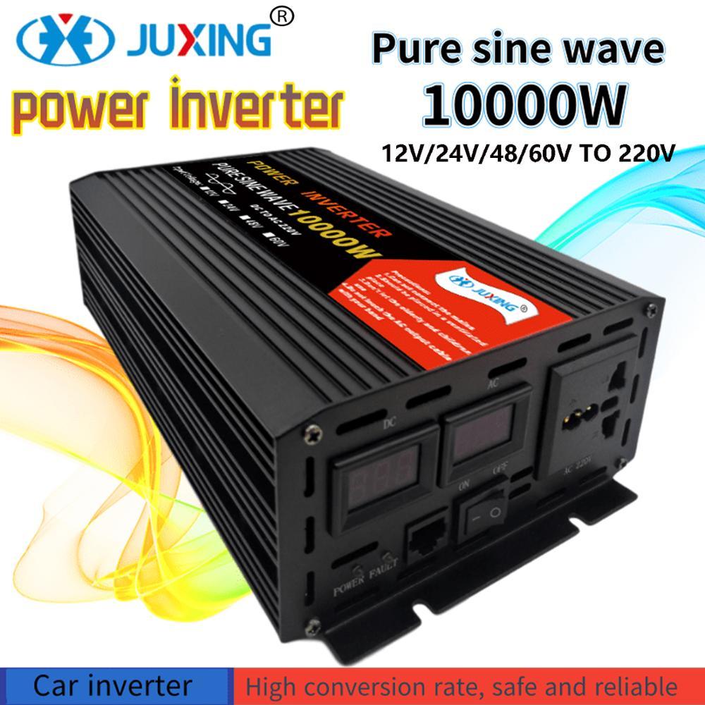 JUXING Мощность инвертор 10000W 12V 220 В немодулированная Синусоидальная волна инвертор постоянного тока в переменный с универсальной розеткой пр...