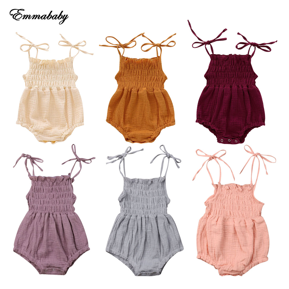 NEW 2020 Summer Newborn Infant Baby Girl Solid Romper Bodysuit Jumpsuit Outfit Clothes 0-18M