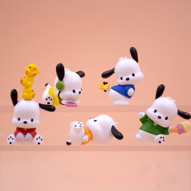 5 Pcs/set Cute Pc Dog Little White Dog Model Action Figure Toys Baby DIY Cake Decoration Doll Gifts for Girls Accessories-0
