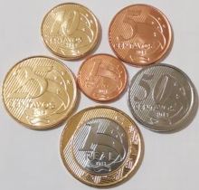 Brazil 2004-2013 1 Cent-1 Real Full Set 6 Pieces Unc Real Original Coins Collection original 6 1761617 1