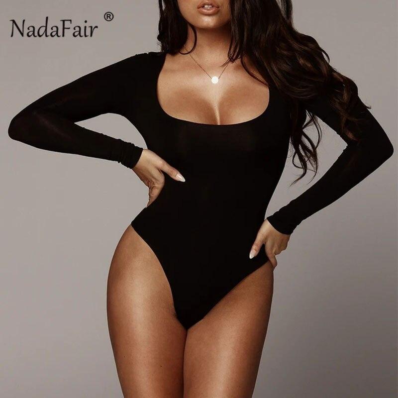 Nadafair Winter Women Bodysuit Long Sleeve 2020 White Bodycon Bodysuit Women Black Body Female For Woman Cutout Fleece Romper