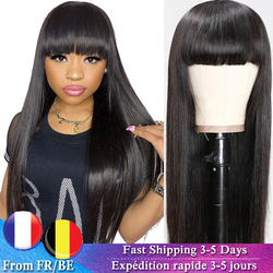 Straight Human Hair Wigs With Bangs Human Hair Wig With Bangs Human Hair Brazilian Wig For Black Women 150%Density Remy Hair Wig