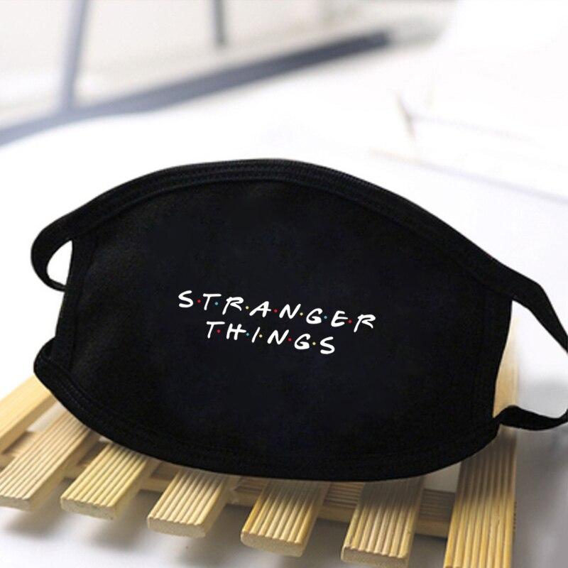 Unisex Stranger Things Print Masks Fashion Polyester Mask High Quality Dustproof Masks Mouth Muffle Reusable Washable Black Mask