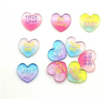 wholesale Kawaii Glitter Rainbow TRUE Love Heart Resin Crafts Flatback Cabochon Scrapbook For Hair Bow Phone DIY Decoration