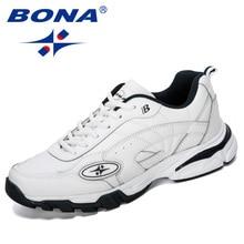 BONA 2019 New Designers Cow Split Running Shoes Sports Men Students Training Sneakers  Jogging Sports Shoes Man Walking Shoes