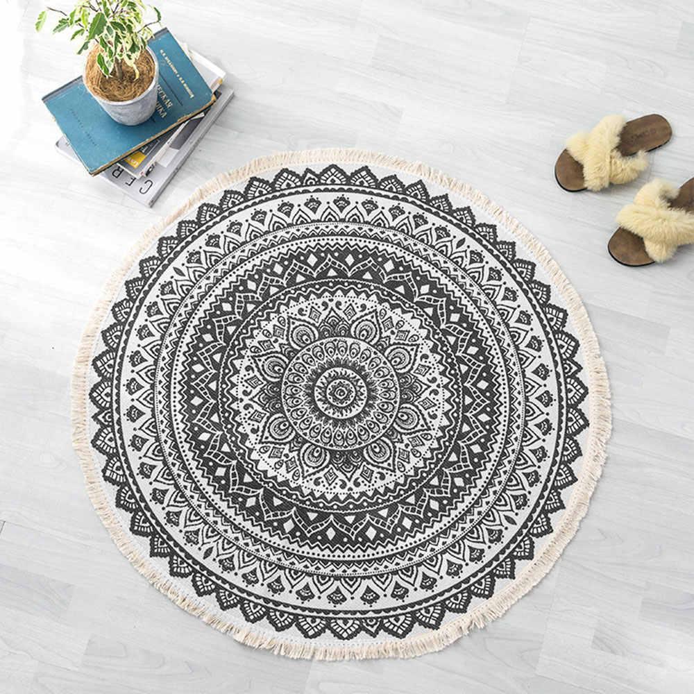 Rétro Boho rond tapis chambre Boho Style gland coton tapis tissé à la main National classique tapisserie canapé coussin Tatami tapis de sol