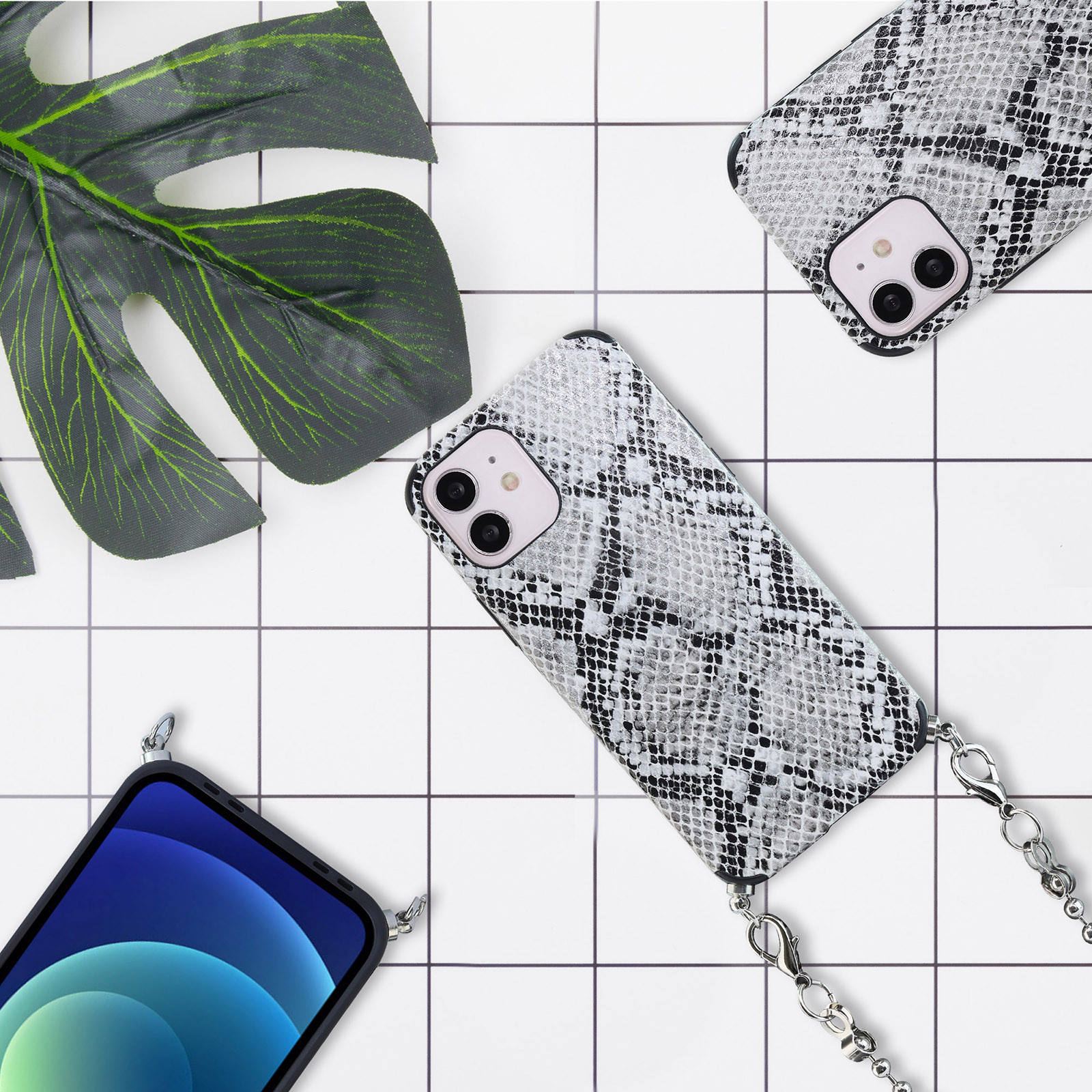 Leather Snakeskin Pattern Phone Case Shockproof Case With Chain For Iphone 12mini/12/12pro/12pro Max Women Chain Phone Cover #3