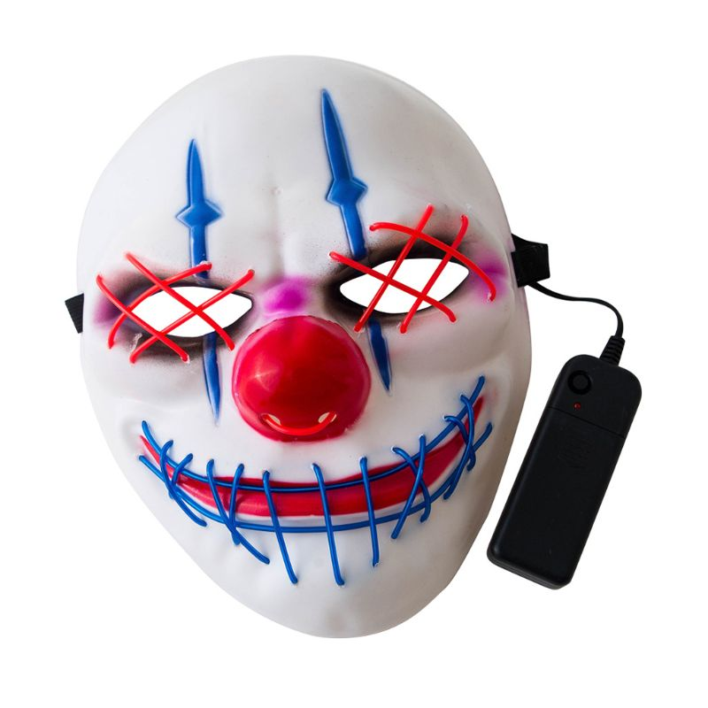 Halloween Big Mouth Clown Glowing Mask LED Cold Light Horror Scary Dress Up