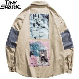 Image 2 - 2019 hip hop camisa masculina de manga comprida streetwear harajuku camisa gráfica remendos design retro vintage camisa solta casual topos outono