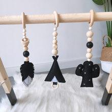 3 pièces/ensemble en bois massif Fitness support pendentif enfants chambre décoration nourrissons bébé salle de sport jouet suspendus ornements bébé salle de sport jouets suspendus
