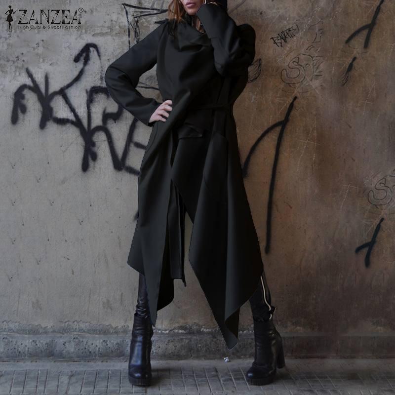 Women Casual Windbreakers ZANZEA Autumn Long Sleeve   Trench   Cardiagns 2019 Fashion Solid Lapel Irregular Long Coats Outwears Robe