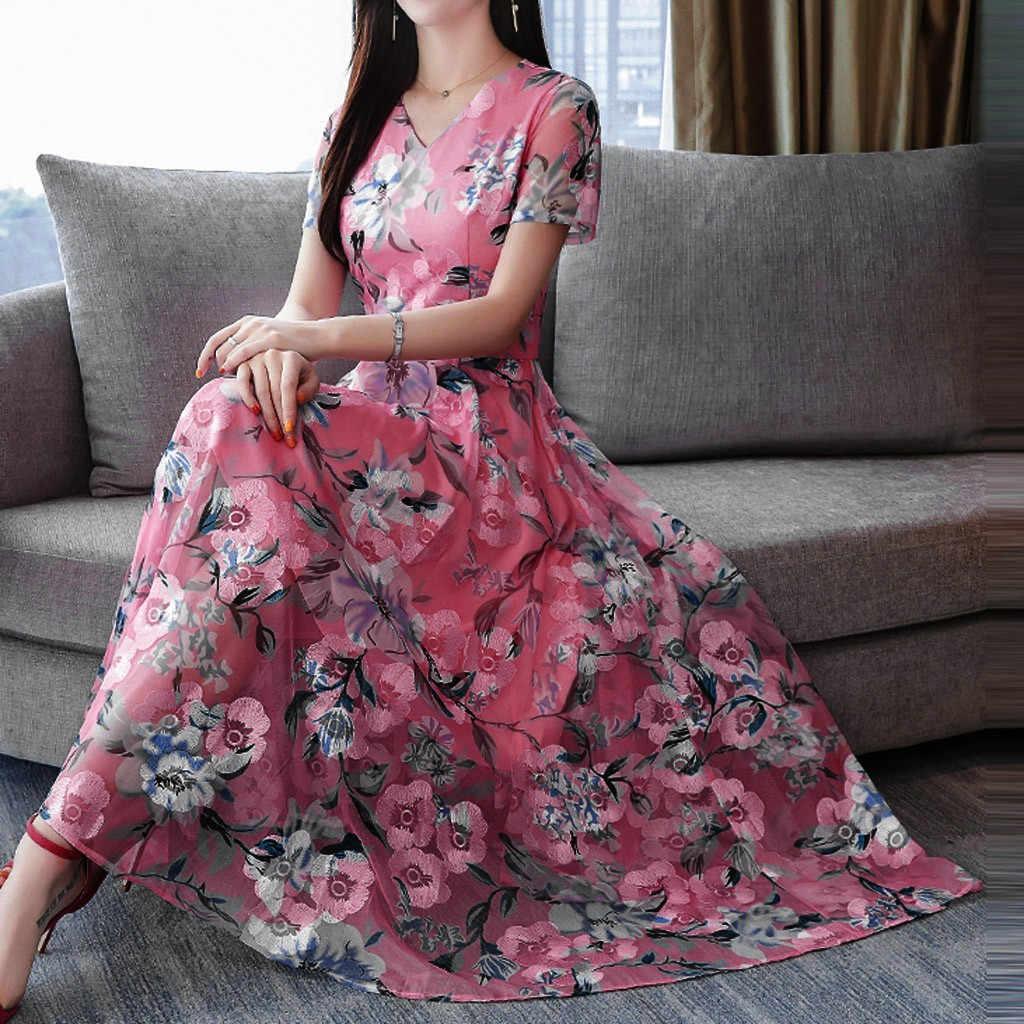 Artı boyutu yaz elbisesi 2019 rahat pembe çiçek uzun elbise kadınlar Vintage elbiseler kadın parti gece zarif V yaka Midi elbise
