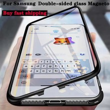 Double Sided Tempered Glass Magnet For Samsung S20 Ultra S8 S9 S10 Plus Note9 10 A10 A30 A50 A71 360 Full Protection Flip Cover