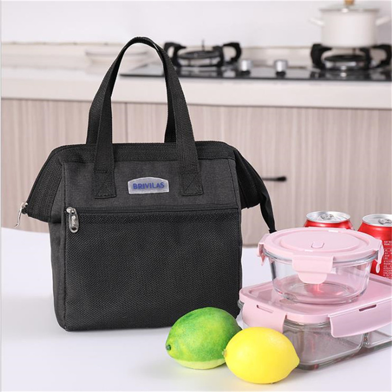 Men Women Insulated Lunch Box Large Lunch Bag, Reusable Cooler Tote Lunch Bag Cation + Aluminum Film Box For Meal Office School image
