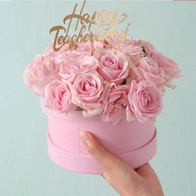 Mini yuvarlak karton kağıt çiçek kutuları gül kutusu sevgililer günü çiçekçi hediye parti Favor ambalaj kutusu düğün parti dekorasyon