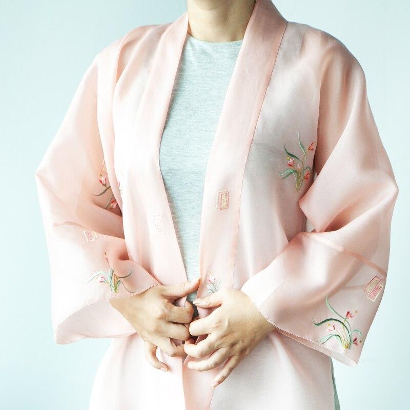 Veste traditionnelle chinoise Hanfu et manteau Transparent coréen broderie soie Organza tissu fait à la main vêtements personnalisés
