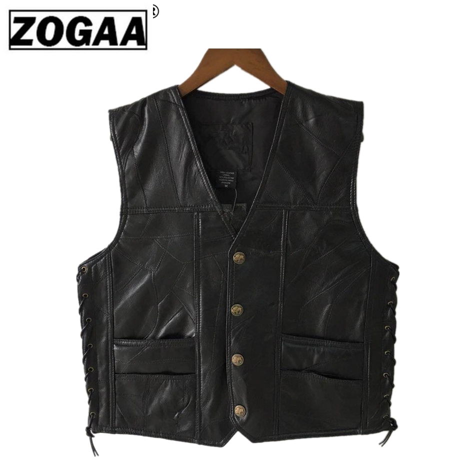 Motorcycle Vest Leather Men's Black Waistcoat Male Biker Punk Genuine Leather Button Lace Up Autumn Sleeveless Jacket For Men