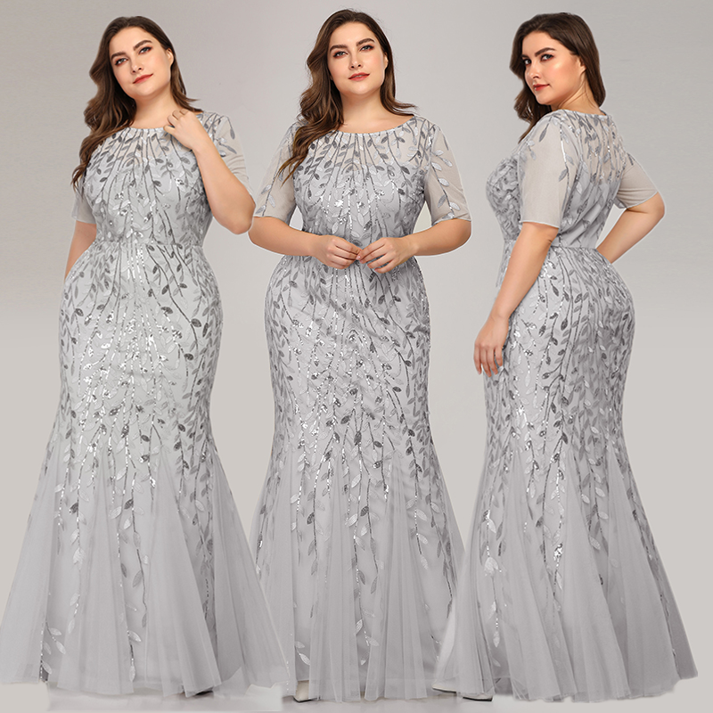 Queen Abby Вечерние платья Русалка с блестками Кружева Аппликации Элегантное Длинное платье русалки платье вечерние платья размера плюс