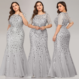 Image 4 - Queen Abby Evening Dresses Mermaid Sequined Lace Appliques Elegant Mermaid Long Dress 2020 Party Gowns Plus Size