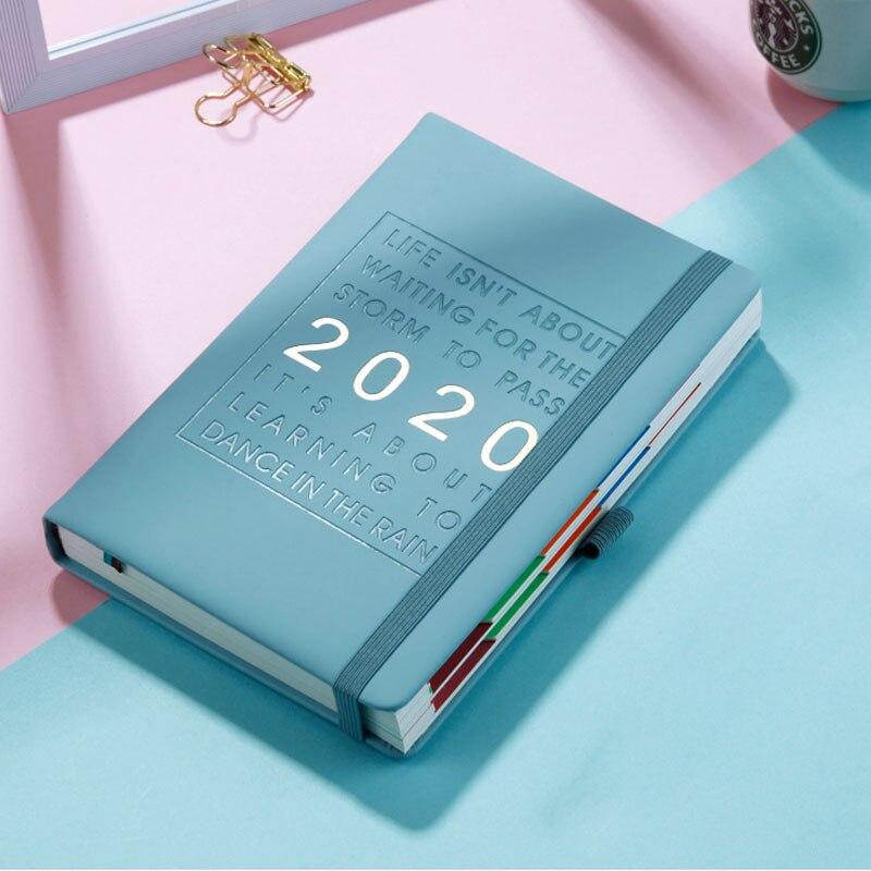 Yeni moda gündem 2020 kalınlaşmak dizüstü A5 deri yumuşak kapak planlayıcısı 2020 ocak-aralık zaman çizelgesi verimli günlüğü İngilizce dil