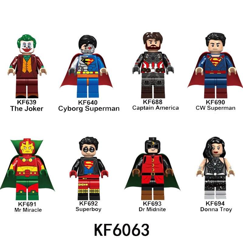 KF6063 Building Blocks Super Heroes Superboy Joker Superman Captain America Action Figures Model Collection Toys For Children