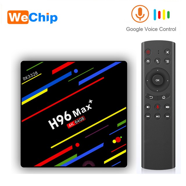 Wechip H96 ماكس زائد تي في بوكس أندرويد RK3328 4GB 64GB مشغل الوسائط دعم جوجل صوت عن بعد واي فاي تعيين صندوق علوي HD OTT الذكية