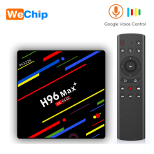 Wechip H96 max plus Android TV BOX RK3328 4GB 64GB Support de lecteur multimédia Google voix à distance Wifi décodeur HD OTT Smart Box