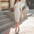 Платье BGTEEVER женское с отложным воротником, модное элегантное облегающее офисное платье-футляр, 2021