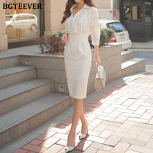 Bgteever moda turn-down colarinho listras vestido feminino elegante escritório senhoras usar vestidos femme 2021 bainha magro bodycon vestido