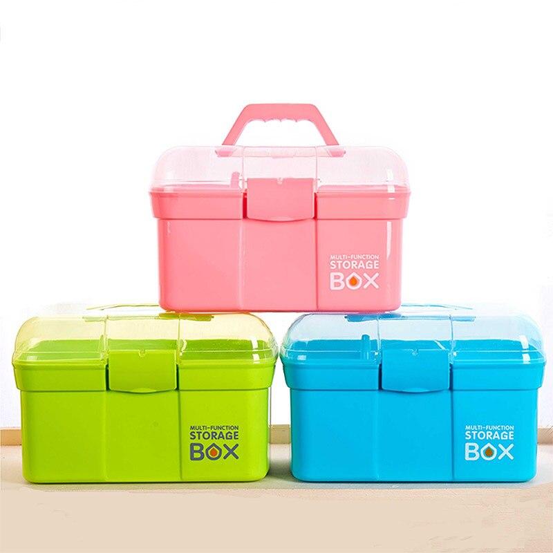 Durable Plastic Household Double Layer Hand Medicine Cabinet Medical Medicine Debris Storage Box Home First Aid Box Storage Box