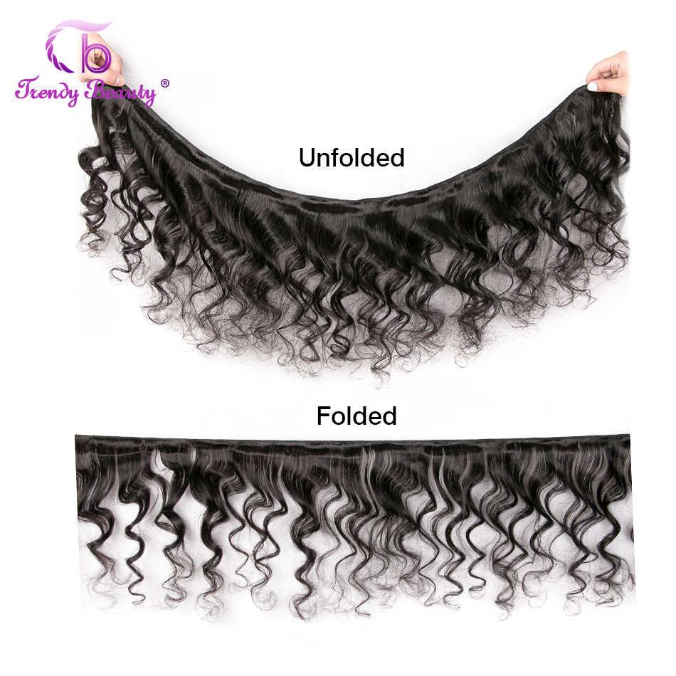 Brazylijski luźne fale ludzkich włosów 4 wiązki z 1Pc ucha do ucha 13X4 koronka Frontal zamknięcie nie remy włosy kolor # 1B Trendy piękno włosów
