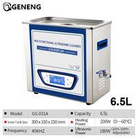 GENENG 6.5L limpiador ultrasónico de desgasificación silencioso máquina de limpieza ultrasónica temporizador calentado de acero inoxidable limpiador ultrasónico envío rápido