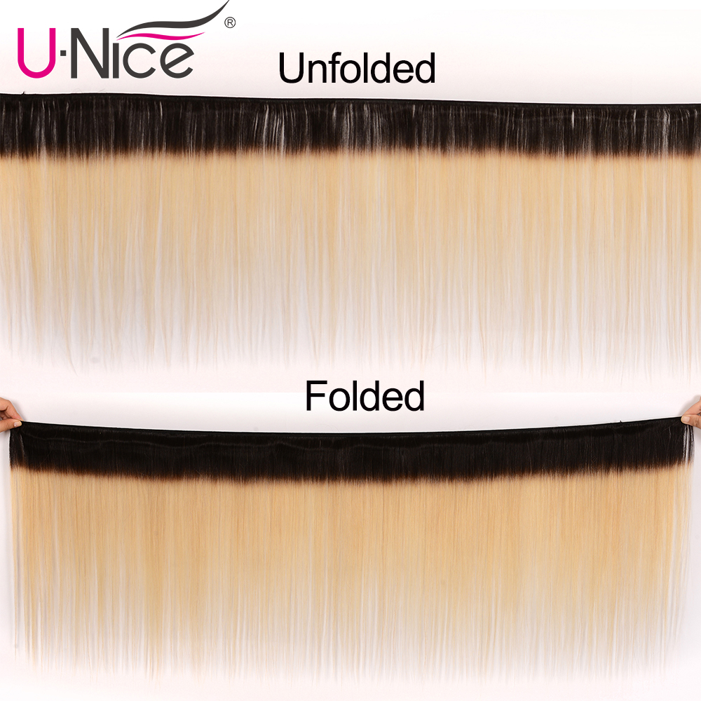 Unice Hair Brazilian Straight Hair 3 Bundle with 13x4 Lace Frontal Closure High Ratio 1B 613 Blonde Ombre 100% Remy Human Hair