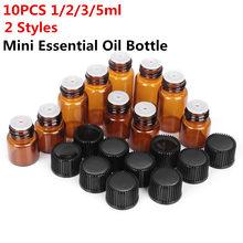 Âmbar 1/2/3/5/ml recarregável vazio conta-gotas óleo essencial frasco de vidro perfume recipiente casa & living viagem portátil mini tamanho