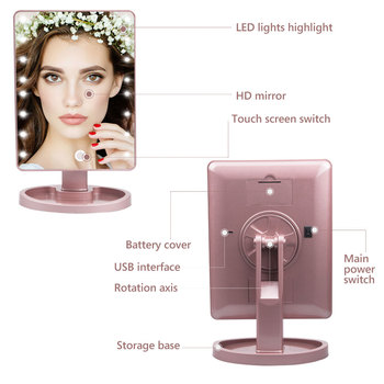 22 LED Light Touch Screen 1X 10X Magnifier Makeup Mirror Desktop Countertop Bright Adjustable USB Cable Or Battery Use 16 Lamp 4