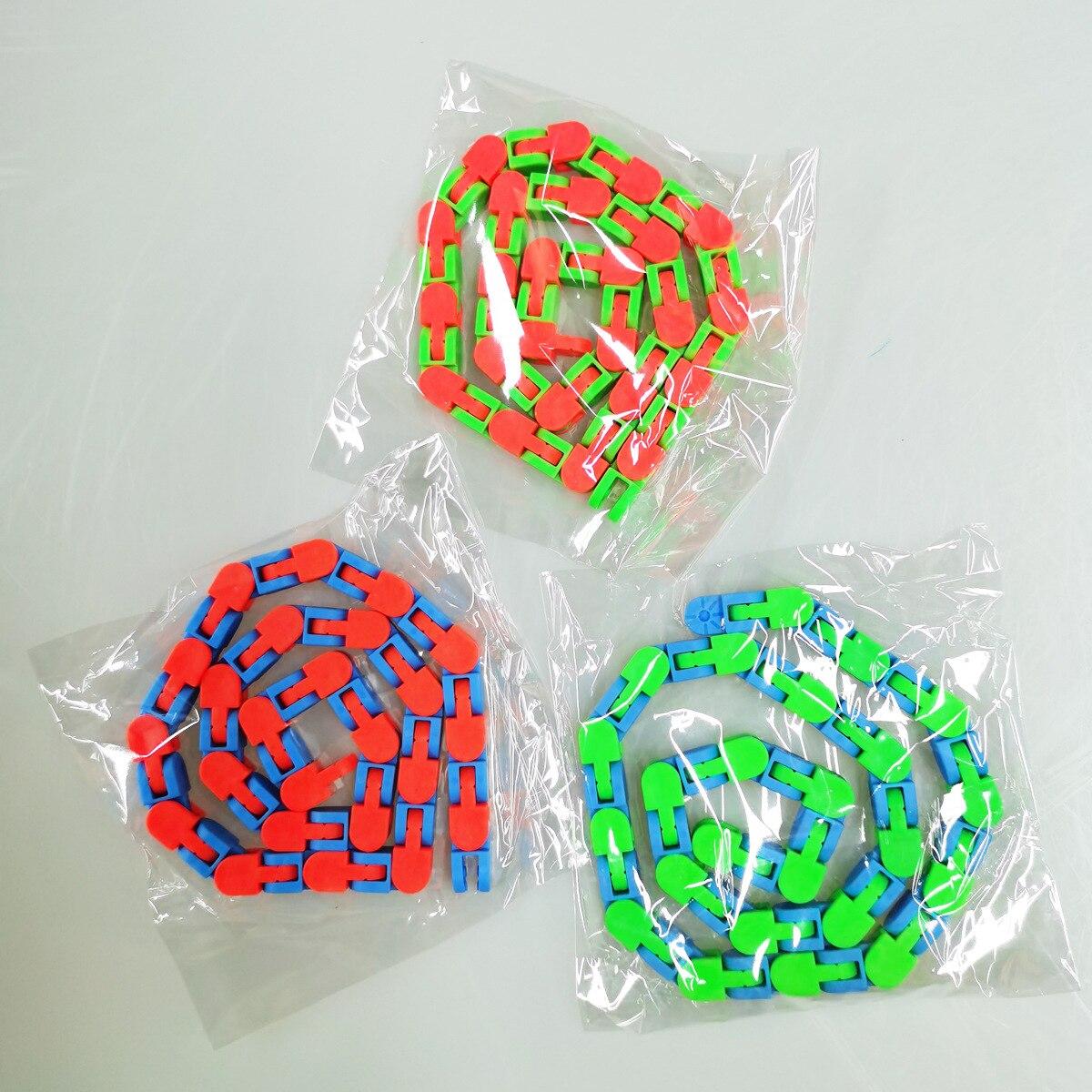 1PCS 48 Knots Fidget Toys Children And Adults Puzzle Decompression 48-Segment Chain DIY Bicycle Chain Toy Fluid Bracelet Sensory img2
